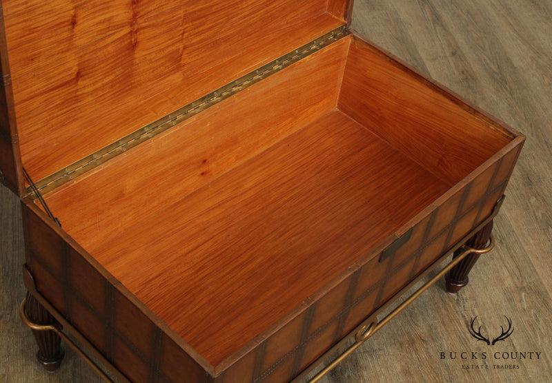 Campaign Style Leather Wrapped Box on Stand