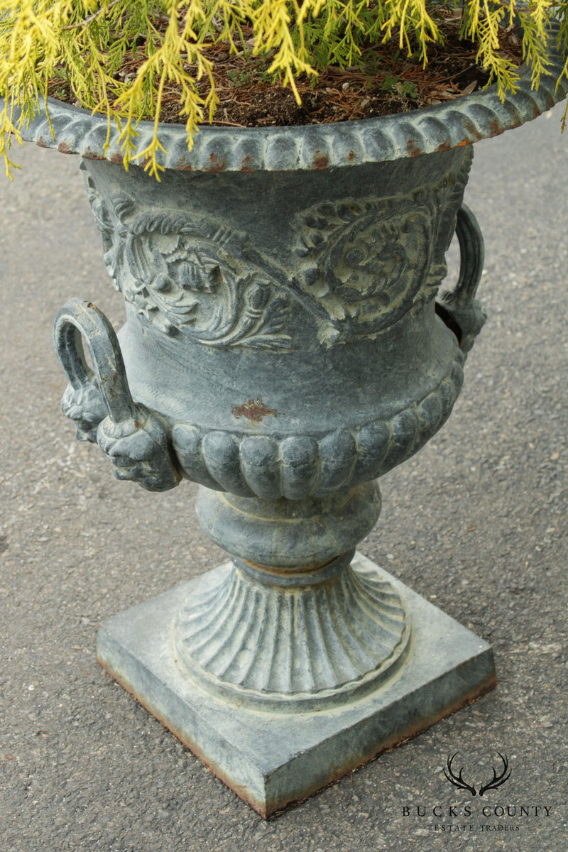 Quality Pair Vintage Cast Iron Garden Urns