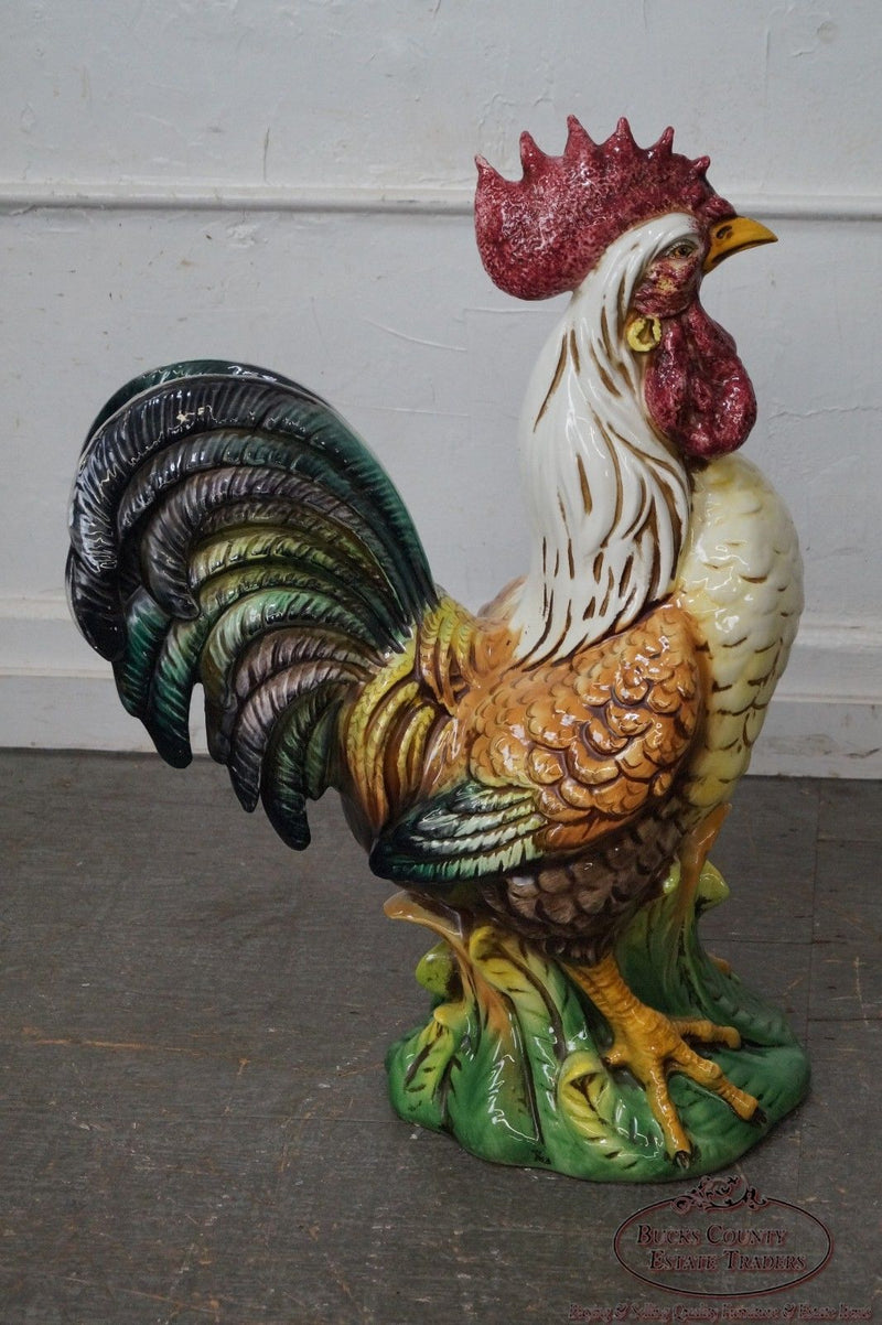 Large Italian Ceramic Pottery Rooster Chicken Statue