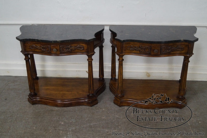 French Louis XV Pair of Serpentine Marble Top Nightstands Commodes by White