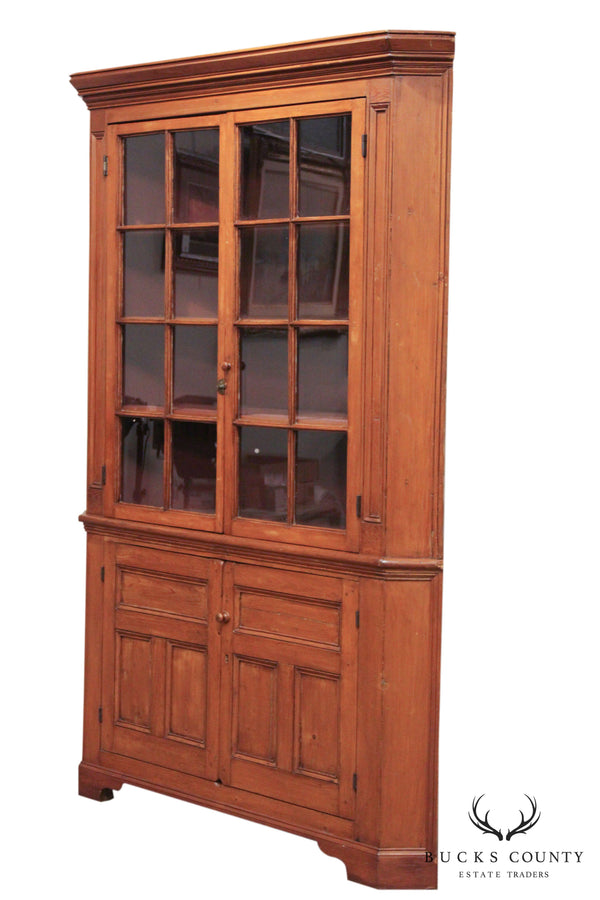 Antique 19th Century American Pine Country Corner Cabinet