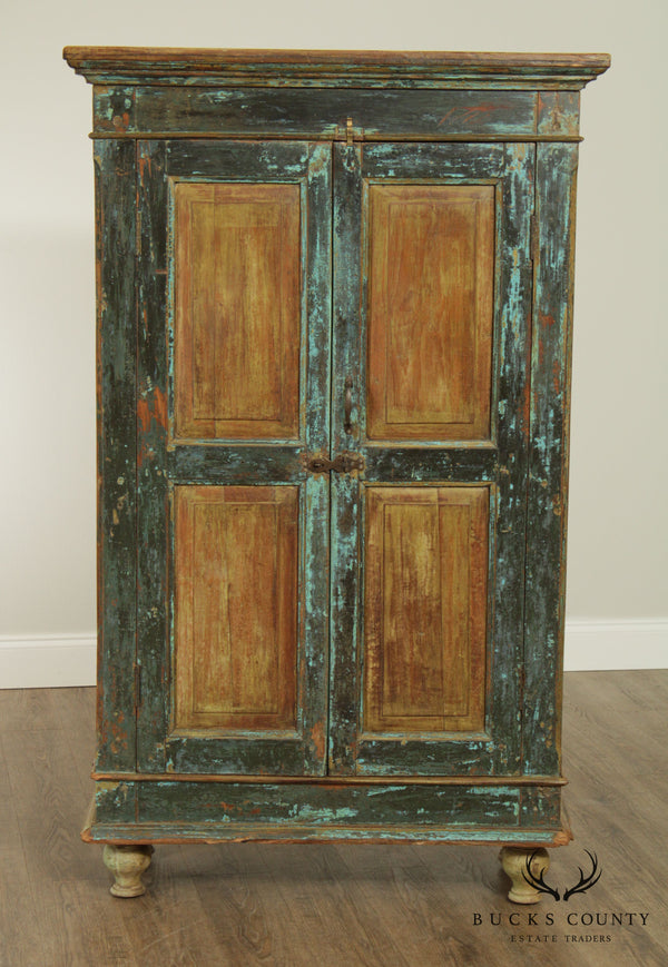 Primitive Distressed Painted 2 Door Cupboard