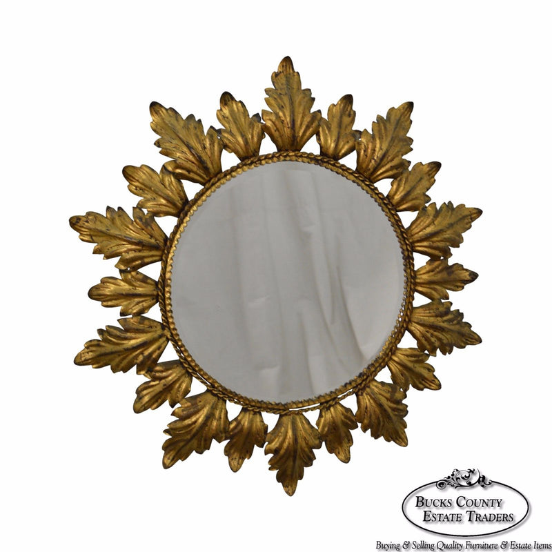 Hollywood Regency Mid century Gold Gilt Metal Starburst Wall Mirror