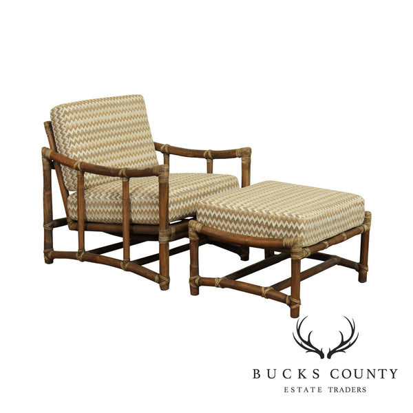 Mcguire Vintage Rattan Lounge Chair with Ottoman