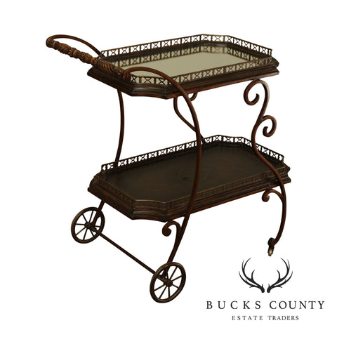 Maitland Smith Quality Wrought Iron 2 Tier Server, Tea, or Bar Cart Trolly