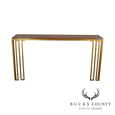 Hollywood Regency Modern Gilt Metal Marble Top Wall Console Table