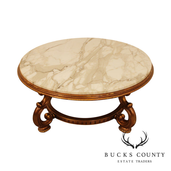 Hollywood Regency Vintage Gilt Wood Base Round Marble Top Coffee Table