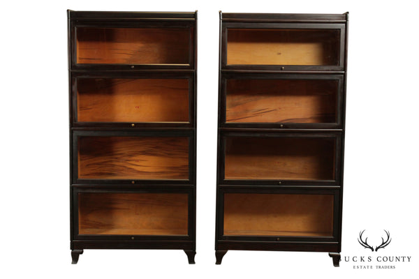 Weis Antique Pair Mahogany 4 Stack Barrister Bookcases