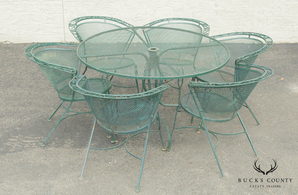 Vintage 7 Piece Vintage Wrought Iron Patio Dining Set, Round Table + 6 Chairs
