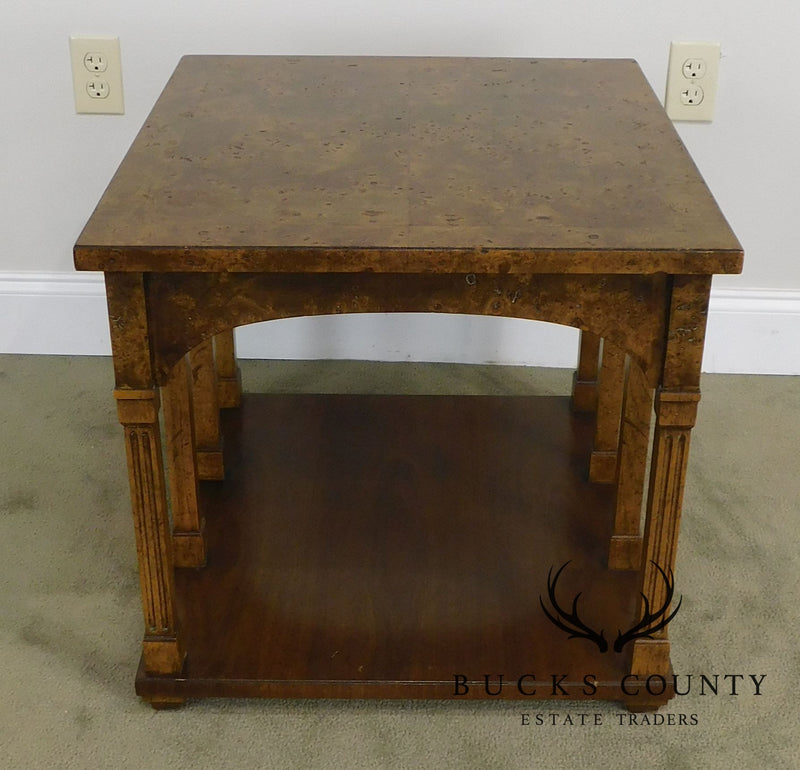 Coliseum Arched Burl Wood Mid Century Gibbings Era Side Table