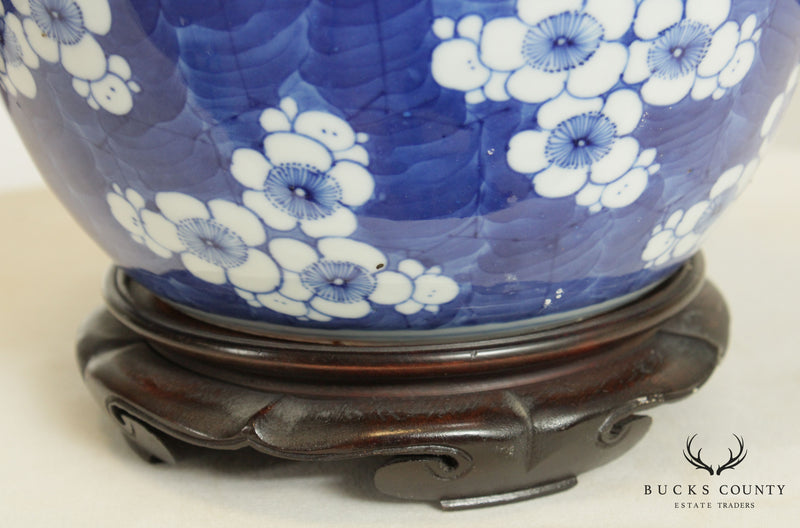Vintage Pair Blue and White Chinese Porcelain Ginger Jars, Vases
