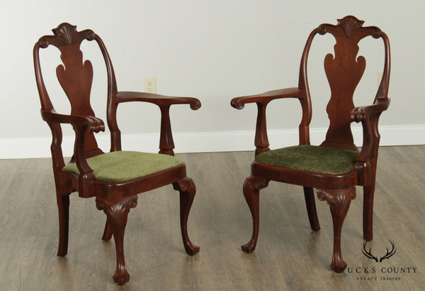 W. Schwartzkopf Hand Made Pair Walnut Queen Anne Armchairs
