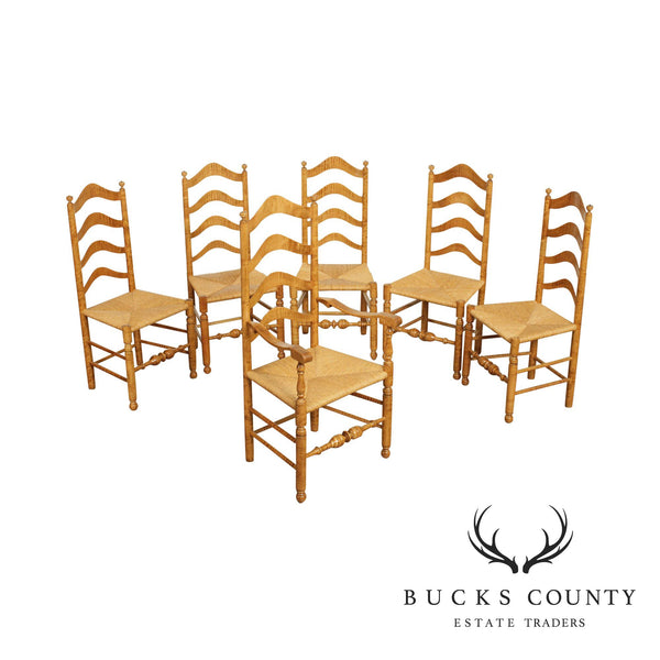 Tiger Maple Custom Quality Set 6 Rush Seat Ladder Back Dining Chairs
