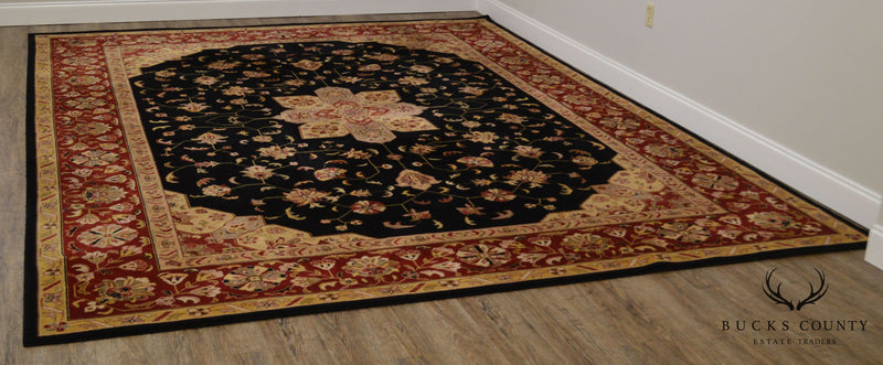 "Nourison Hamilton House Collection Black, Red, Gold 9' 6"" x 13' Room Size Wool Rug"