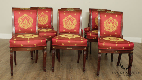 French Empire Antique 19th Century Set 8 Mahogany Dining Chairs