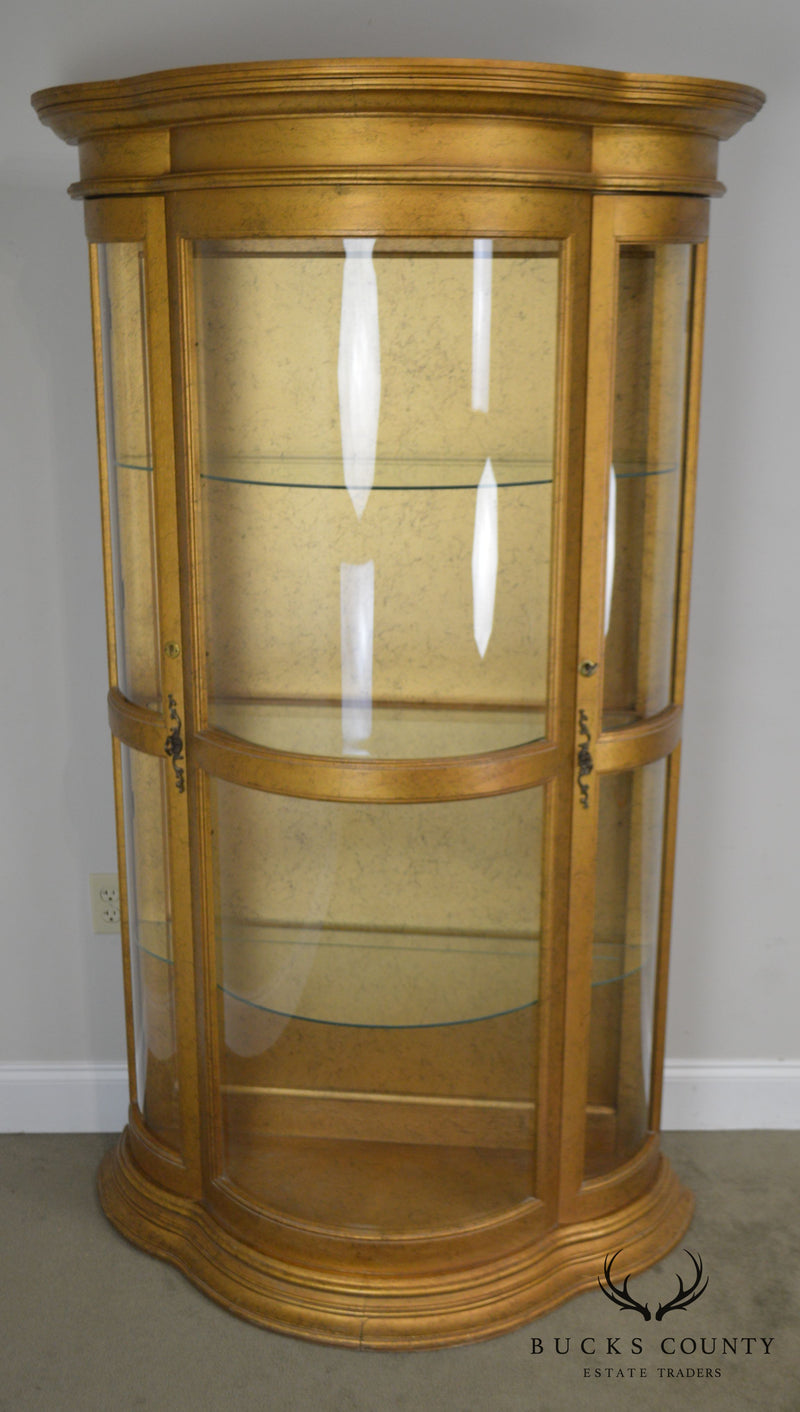 Hollywood Regency Vintage 1960's Serpentine Giltwood Bow Glass Curio Vitrine Cabinet