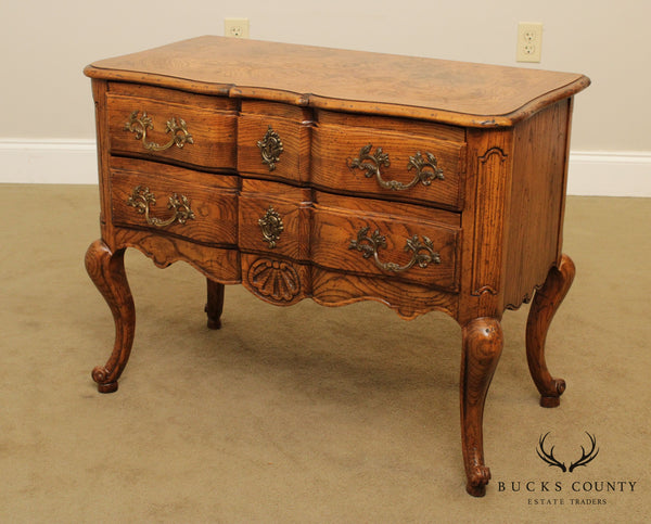 Baker French Louis XV Style Vintage Oak 2 Drawer Nightstand Chest