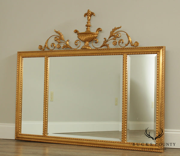 LaBarge Adams Style Gilt 3 Section Beveled Mantel Mirror - B