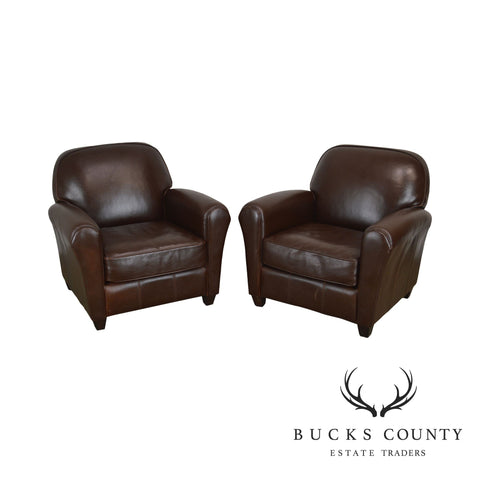 Quality Pair Brown Leather Art Deco Style Pair Recliner Club Chairs