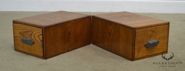Antique Oak Pair of Desktop Library Card File Cabinets (B)