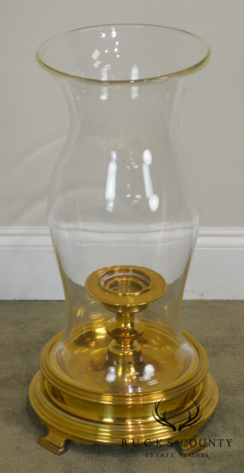 Colonial Williamsburg Style Quality Brass Candle Holder with Tall Glass Hurricane Globe