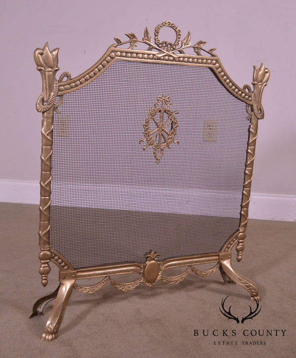 French Louis XVI Style Brass Fireplace Screen