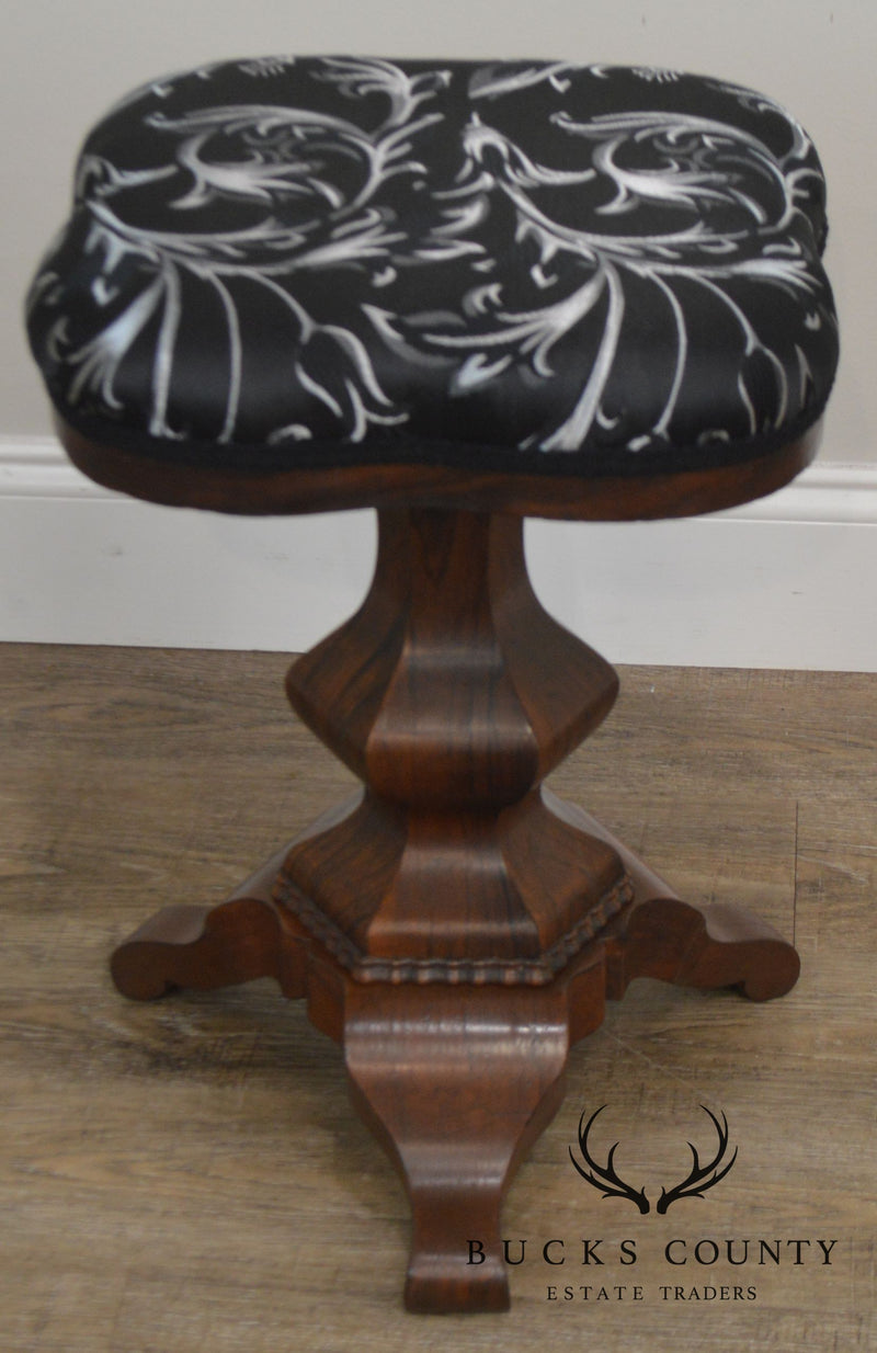 American Empire Antique Rosewood Revolving Adjustable Piano Stool