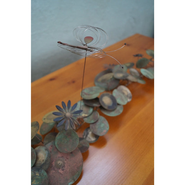 Curtis Jere Mixed Metal Sculpture of Lily Pads and Dragonfly