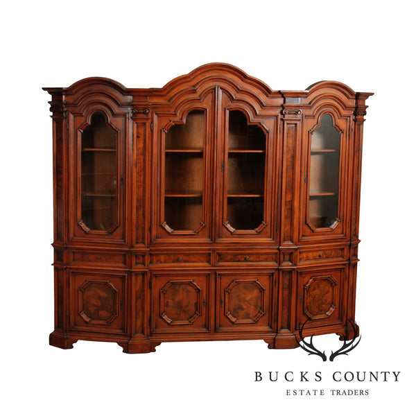 Monumental Italian Burl Wood 4 Door Bookcase Cabinet