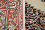Hand Tied Vintage Red, Blue and Ivory Throw Rug Carpet