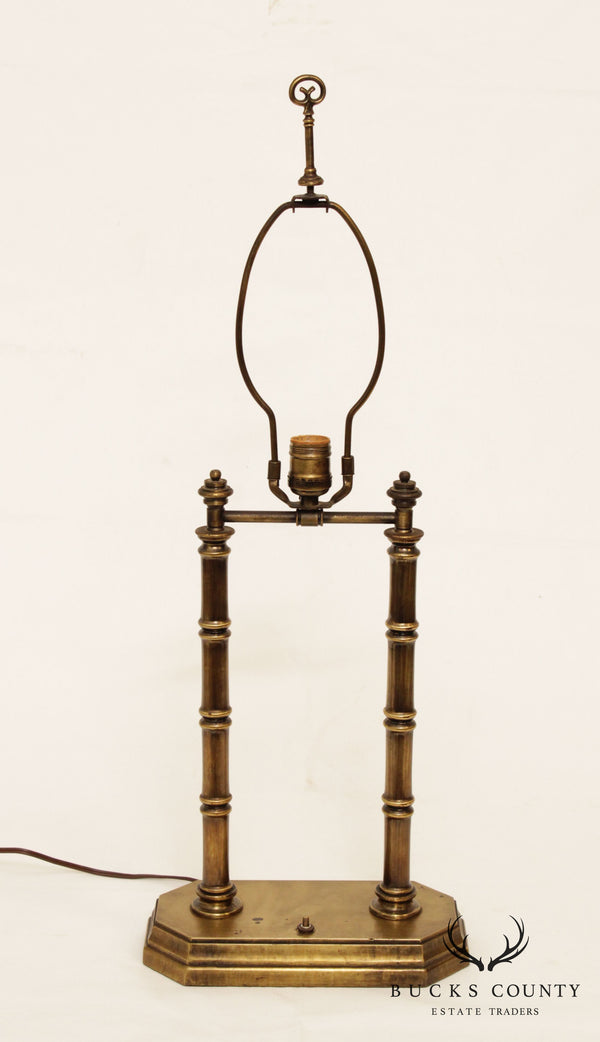 Vintage Brass Faux Bamboo Table Lamp