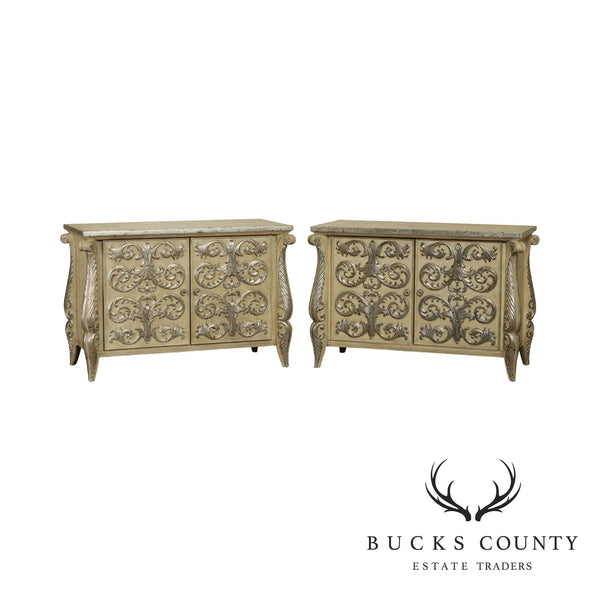 Rococo Style Custom Pair Silver Leaf Foliage 2 Door Commodes Servers