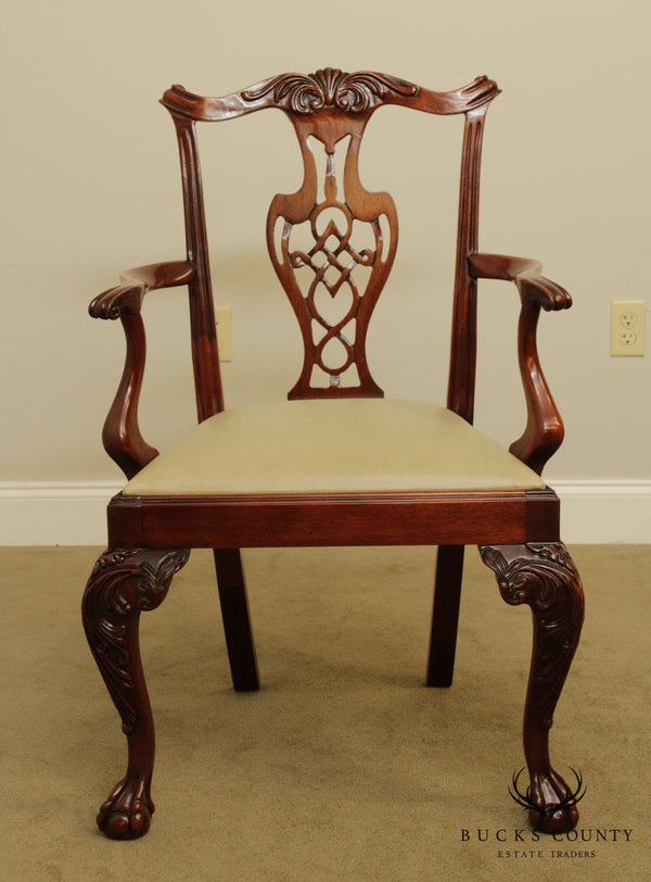 Chippendale Style Quality Carved Mahogany Ball and Claw Armchair