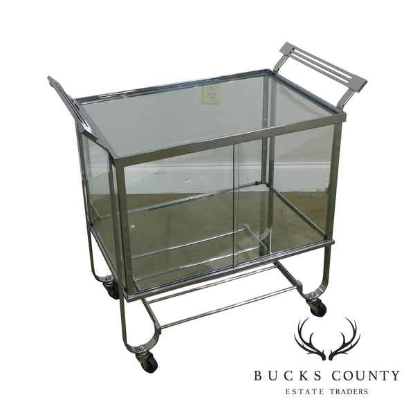 Treitel Gratz Donald Deskey 1930's Art Deco Chrome Stainless Steel and Glass Bar Cart