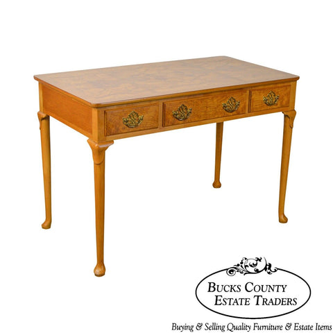 Baker Furniture Queen Anne Style Burl Wood Writing Desk