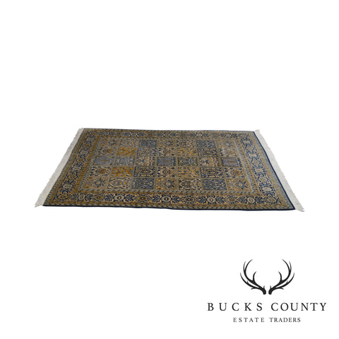 Hand Tied Blue and Gold Room Size Persian Carpet