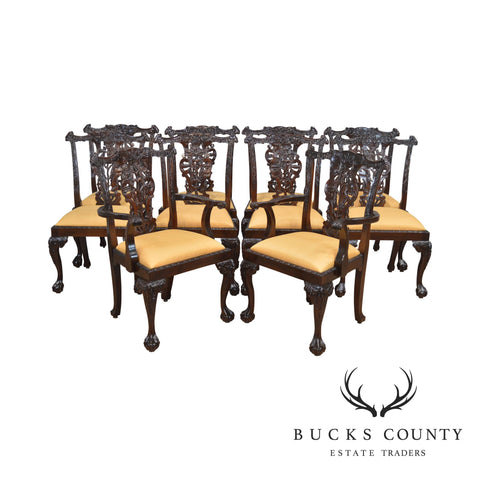 Chippendale Style Set of 10 Heavily Carved Solid Mahogany Ball & Claw Dining Chairs