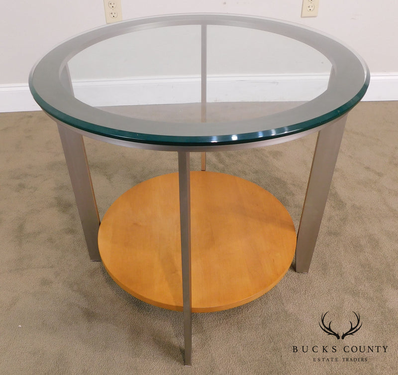Modernistic Pair Brushed Metal Round Glass Top Side Tables
