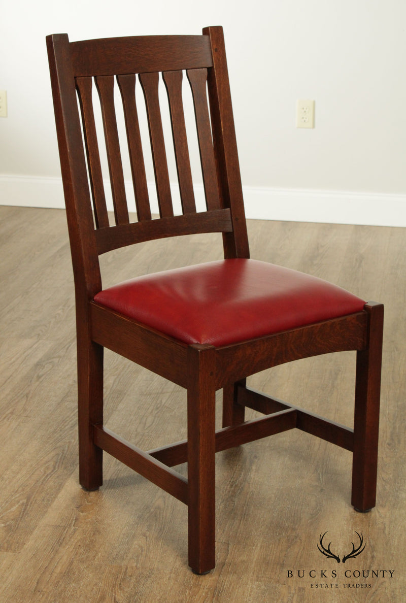 Stickley Mission Collection Oak Set 4 Cottage Dining Chairs