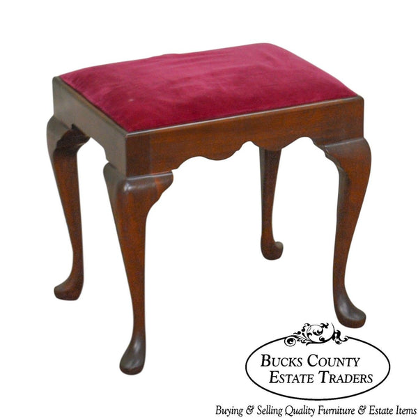 Madison Square Solid Mahogany Queen Anne Vanity Bench Stool
