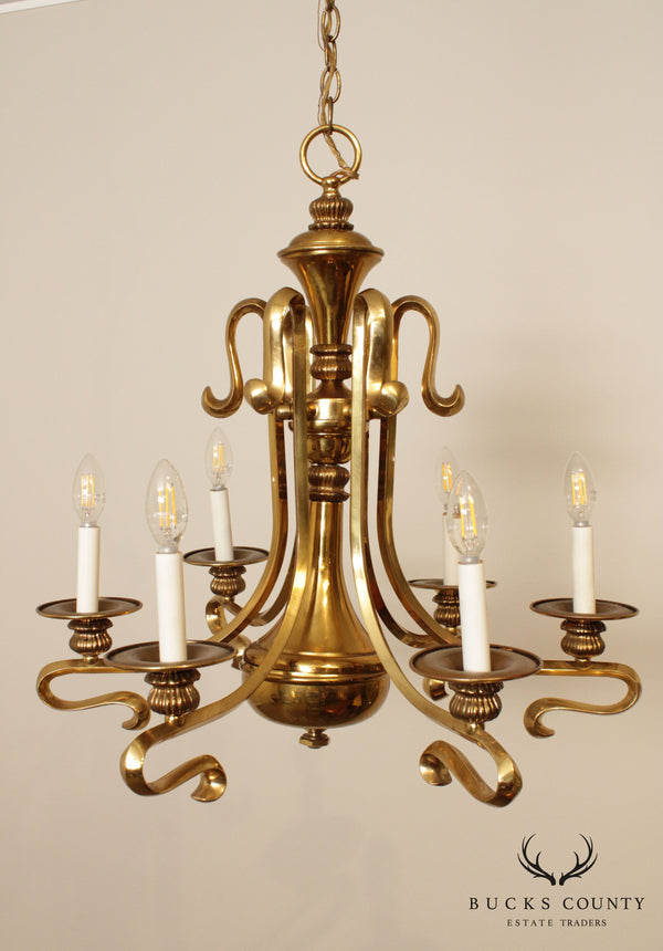 Quality Brass Vintage 6 Light Chandelier