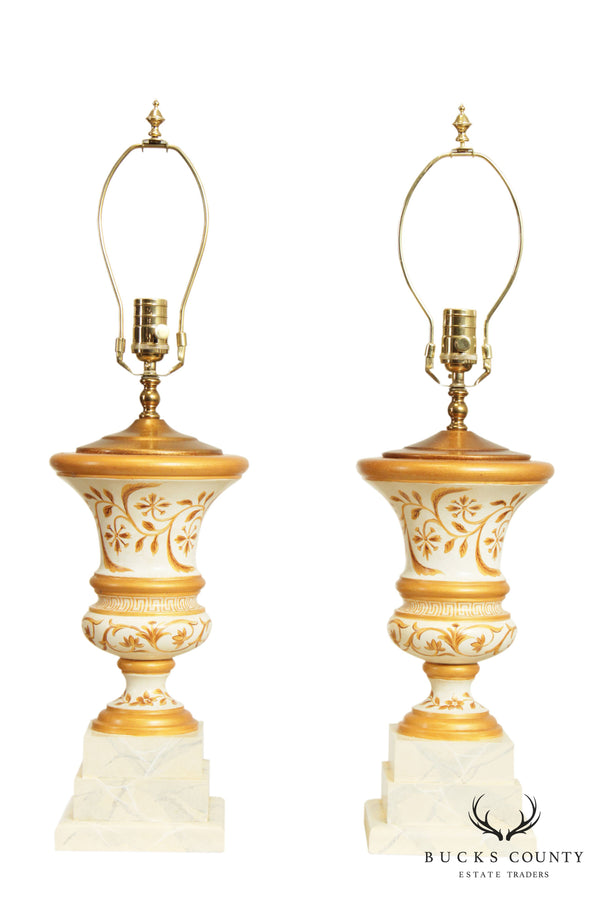 Neo-Classical Style Quality Pair Painted Wood Urn Table Lamps