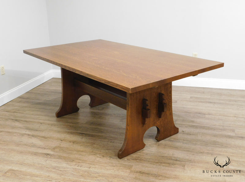 Stickley Mission Collection Oak Keyhole Trestle Dining Table