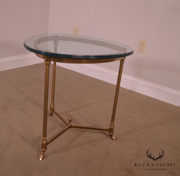 Labarge Vintage Italian Brass & Glass hoof foot Gueridon Table