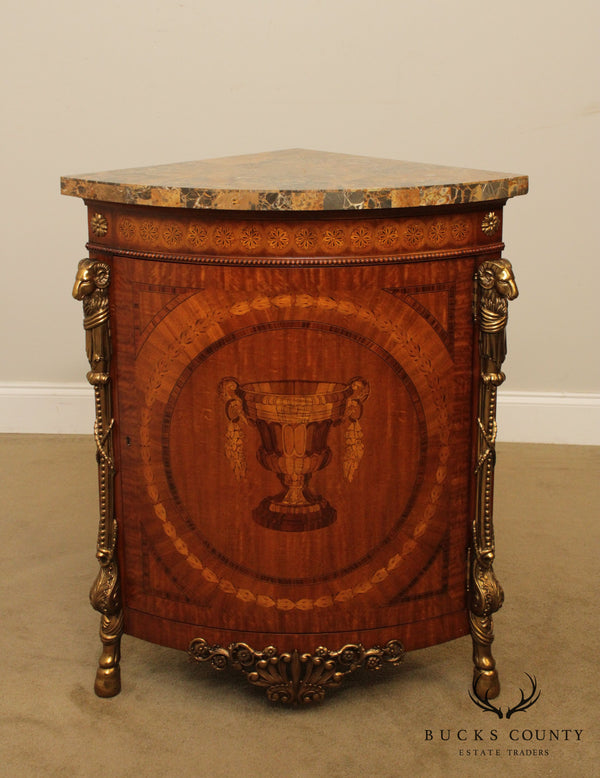 Maitland Smith French Louis XVI Style Marquetry Inlaid Corner Cabinet