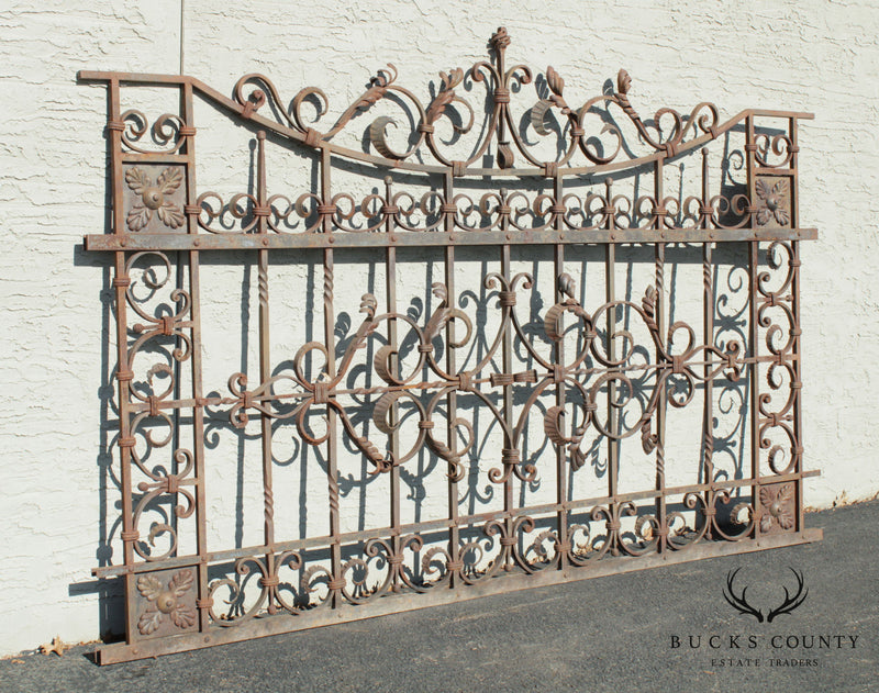 Quality Vintage Ornate Wrought Iron 8'x5' Fence/Gate Section (F)