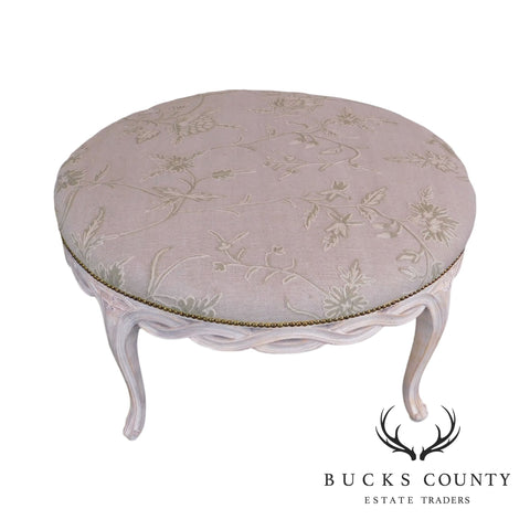 "French Louis XV Style Custom White Painted 34"" Round Ottoman"