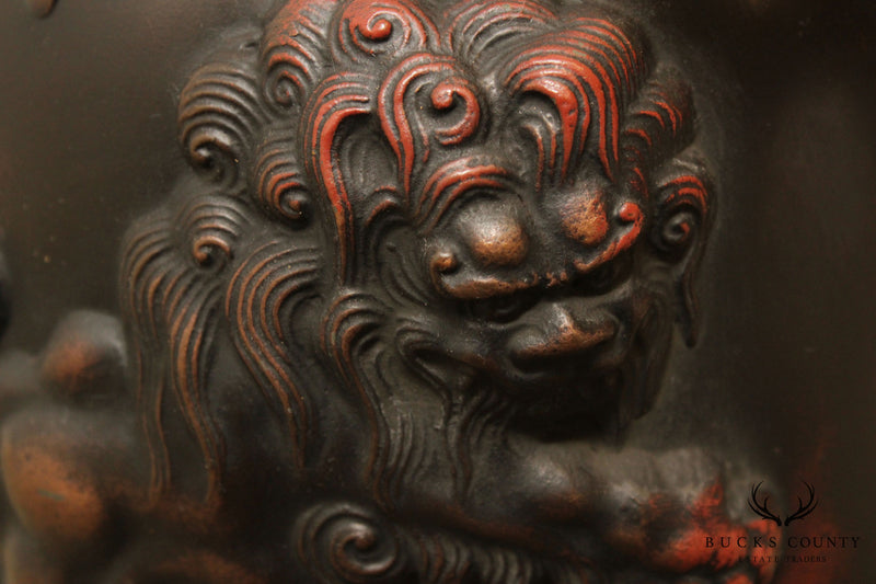 Quality Bronze Asian Style Table Lamp with Foo Dog