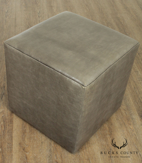 Leathercraft Square Cube Leather Ottoman