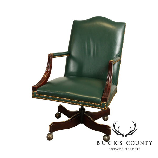 Hickory Chair Mahogany Green Leather Office Desk Chair (A)